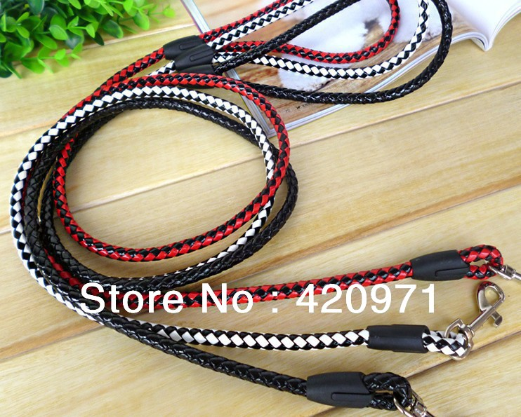 5pcs/lot Top fashion 3 colors Knitted Training Leather dog rope Leash Pet chain Free shipping(China (Mainland))