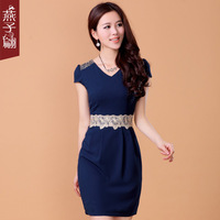 2013 women's one-piece dress summer swallow summer slim skirt chiffon short-sleeve chiffon one-piece dress