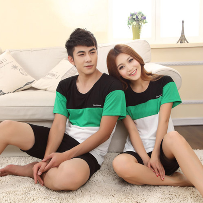 Lovers short-sleeve summer sleepwear knee-length pants short-sleeve sleep set black and white green men and women sleepwear(China (Mainland))