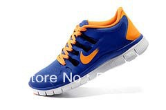 24 hours top quality 2013 Newest Men's free run 5.0+ v2 running shoes men athletic casual sports man boots sports blue-orange(China (Mainland))