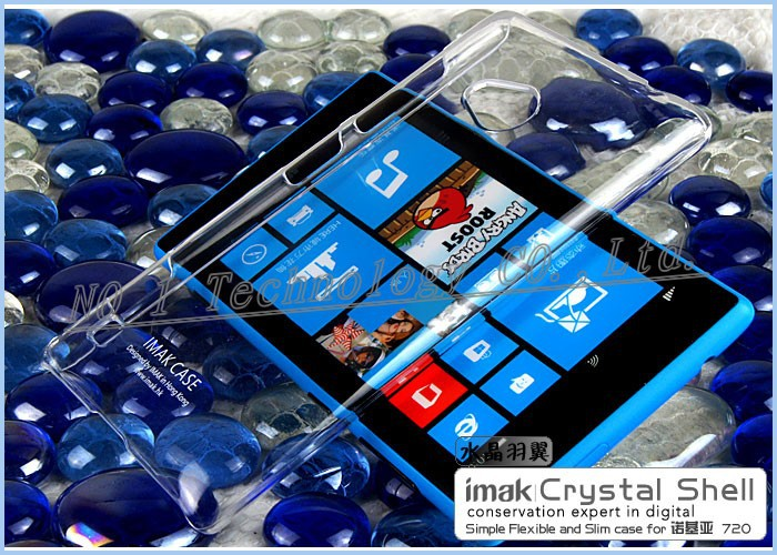 HK Free Ship,IMAK Crystal Case for Lumia 720,imak thin hard Case cover for Nokia 720 retail box(China (Mainland))