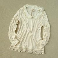 Women's long-sleeve T-shirt cutout crochet peter pan collar all-match basic shirt 100% cotton top 4130