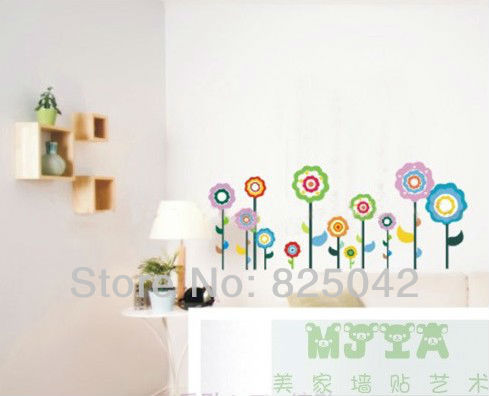 Mix order! Free Shipping 1 set of 33X60cm Flowers Vinyl Wall Decal Sticker DIY Home Decor Wholesales(China (Mainland))