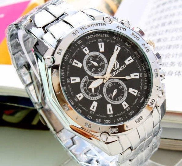 Sales promotion! black Quartz movement 100% man Stainless Steel band watches free shipping(China (Mainland))