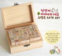 Free Shipping 40 pcs/Set Cute Children Gifts Creative Cat Stamp Wooden Box Kids Craft Decorative Wood Rubber Stamps DIY