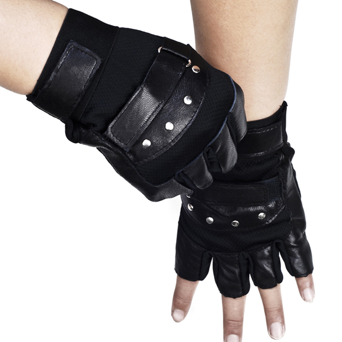 Male genuine leather wrist support cool sport outside semi-finger mitring double adhesive tape rivet hip-hop fitness gloves(China (Mainland))