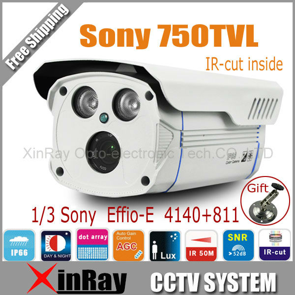 "1/3"" SONY CCD Effio-E 4140+811 750TVL Waterproof CCTV Camera,Infrared Security Camera ,Bracket as gift XR-IC750-2,Free Shipping(China (Mainland))"