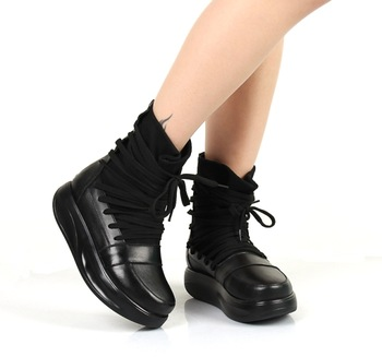 Platform spring and autumn boots genuine leather cowhide boots swing shoes
