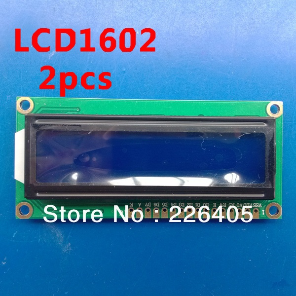 2pcs 5V 1602 LCD Module Character Display LCM 16X2 HD44780 Blue Blacklight White words diy(China (Mainland))