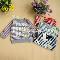 Leather stripe 100% cotton cardigan infant buttons small top male female child pullover