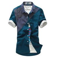 New arrival 2014 summer men's  slim short shirt male polka dot patchwork short-sleeve shirt for men