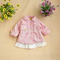 Idea winter infant dot lace decoration large sweatshirt medium-long trench plus velvet wadded jacket cotton-padded