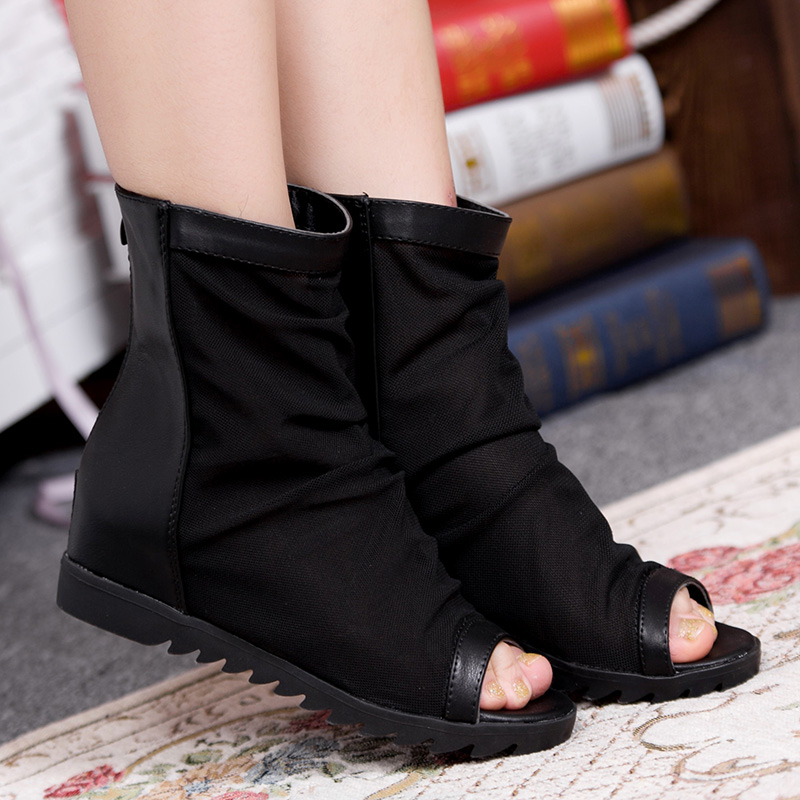 New arrival 2013 female cool boots gauze open toe shoe boots ol boots summer n women's shoes flat gladiator wedges(China (Mainland))