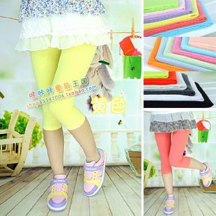 Primary school students summer baby pants chromophous knee-length girls dance pants 13 yellow(China (Mainland))