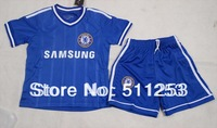 Free Shipping 2014 New Arrival Kids Soccer Jersey  Chelsea Blue  children  youth soccer uniforms shirt  with short