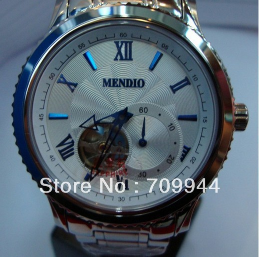 Mendio Skeleton Dial Stick/Roman Markers Silver Case SS Strap Automatic Men&#39;s Watch Black White(China (Mainland))