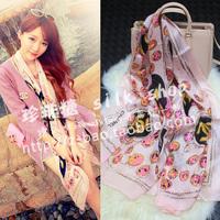 Ladies small pearl gloss silk long silk scarf pink scarf summer cape