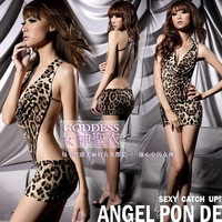 Sexy leopard print racerback bellyached dancewear party dress sexy lingerie mini dress hot club wear cosplay costume free ship
