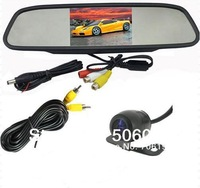 "Free shipping DHLCar Rear View Back up Camera + 4.3"" Mirror monitor+parking assistance Rearview kits car camera kit parking kit"