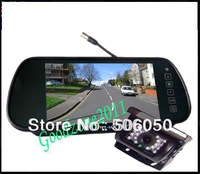 "Car Rear View Back up Camera 18 IR Night Reversing  Camera + 7"" Mirror monitor+parking assistance Rearview kits +10m cable"