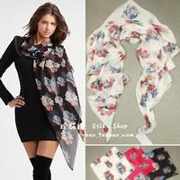 Skull silk large facecloth silk scarf female summer sun cape
