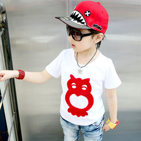 2013 children's clothing male child girls summer clothing cartoon flower owl short-sleeve T-shirt 1266(China (Mainland))