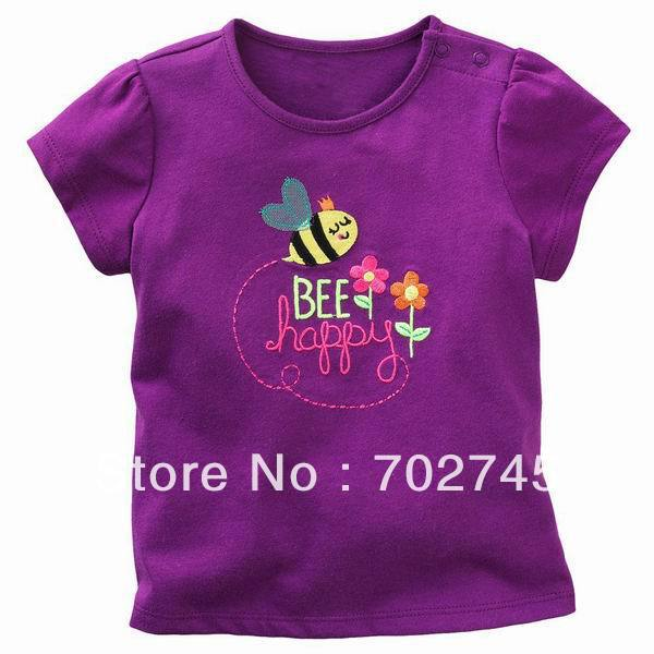 umping Children T-shirts 5757 Purple Bee Flower Girl Cotton Short Sleeve T-shirts Children Clothes(China (Mainland))