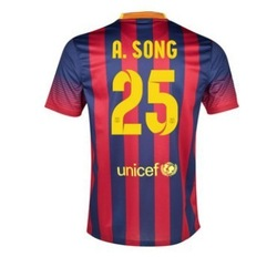 New Top Quality 13-14 Barce 25# SONG home Jersey red blue Uniform 2013-2014 Cheap Soccer football kit free shipping(China (Mainland))