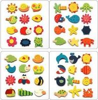Wholesale 4 Set/1 set of 12 kinds shape colorful fridge magnetic stickers / wooden Cartoon fridge magnets