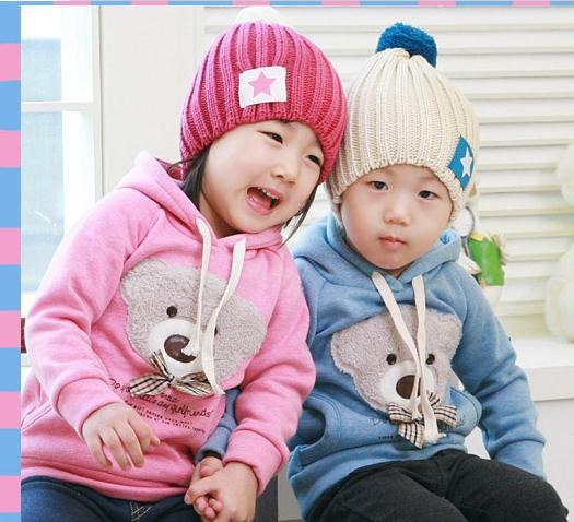 Free shipping, wholesale children's wear boys and girls warm hooded fleece bear design 5pcs/lot 90-130CM(China (Mainland))
