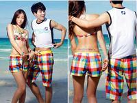 2013 The new south Korean couples beach shorts color grid quick-drying short pants suit hot pants big yards beach wear 2pcs/lot