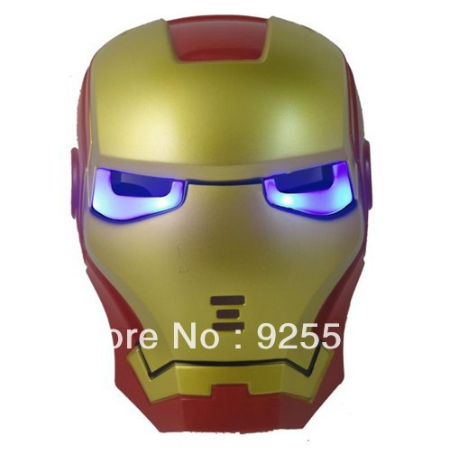 Cosplay Glowing Iron Man Mask Blue LED Eyes Halloween Toy children's cartoon animation performances masks with light emitting(China (Mainland))