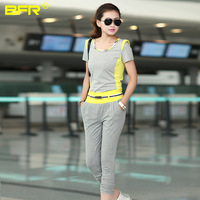 2013 Women sports casual set female fashion slim capris patchwork set