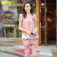 2013 summer casual set female fashion loose chiffon lace patchwork sports set