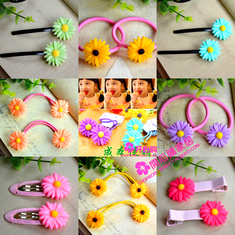 Baby child hair accessory hair accessory little daisy hair rope headband hairpin hair pin tousheng bb clip rubber band(China (Mainland))