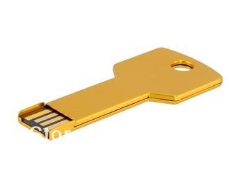 Free Shipping 4GB 8GB 16GB 32GB Key USB Flash Drive Pen Disk - Golden Yellow