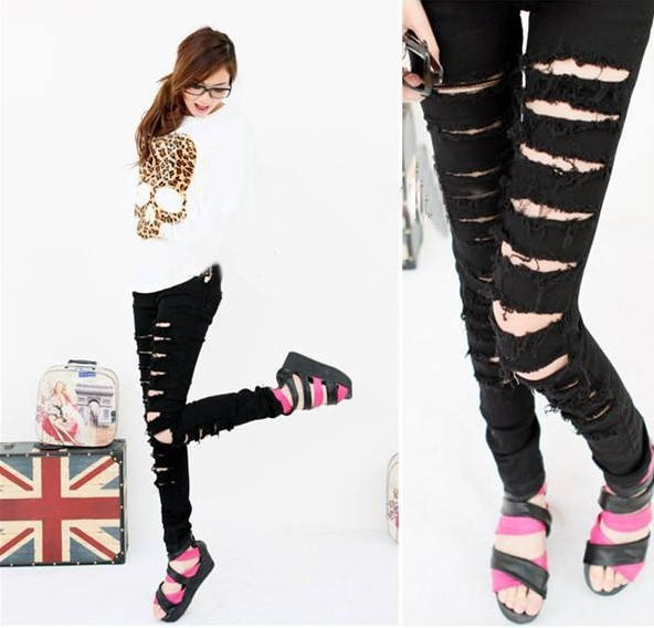 Free Shipping Black Punk Rock Women Ripped Skinny Pants Jeans Leggings Trousers WF-046(China (Mainland))