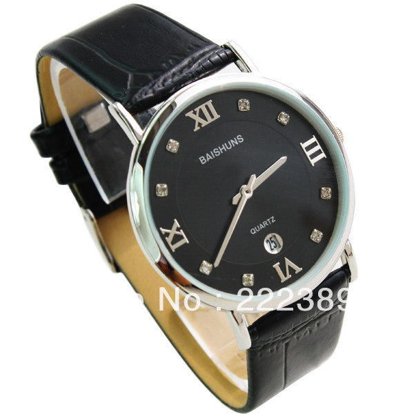 Free shipping Supply Black Leather quartz Men&#39;s watches Auto Date Waterproof Silver case Roman scale watches Hot sale 149.845L(China (Mainland))
