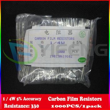 Resistencia 1 / 4 W 0,25 W Watt 330 ohm 330ohm Film Resistencia de carbón 1 / 4 W 5 % 1000PCS envío gratuito