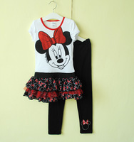 New Arrival Children Girls 2013 Summer Clothing Set Cartoon Minnie Mouse 2PC Set Clothes Suit Free Shipping