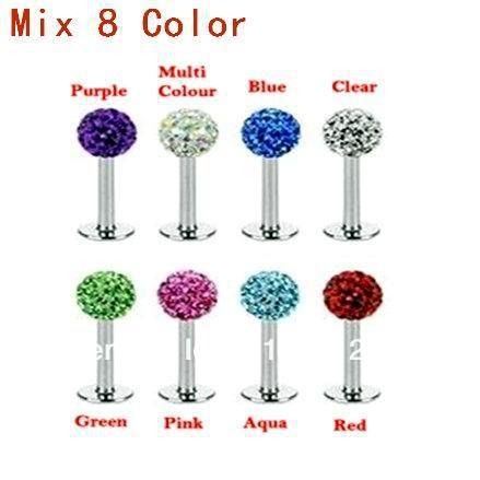 80pcs/lot Free shipping Mix 8 Color Crystal Ball Labret Ring 316L Stainless Steel Lip Piercing jewelry Ear studs(China (Mainland))