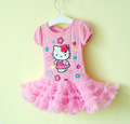 In Stock! Children Girl's 2013 Summer Fashion Brand Dress Cartoon Hello Kitty Pink TUTU Tunic Dress Princess Dress Free Shipping