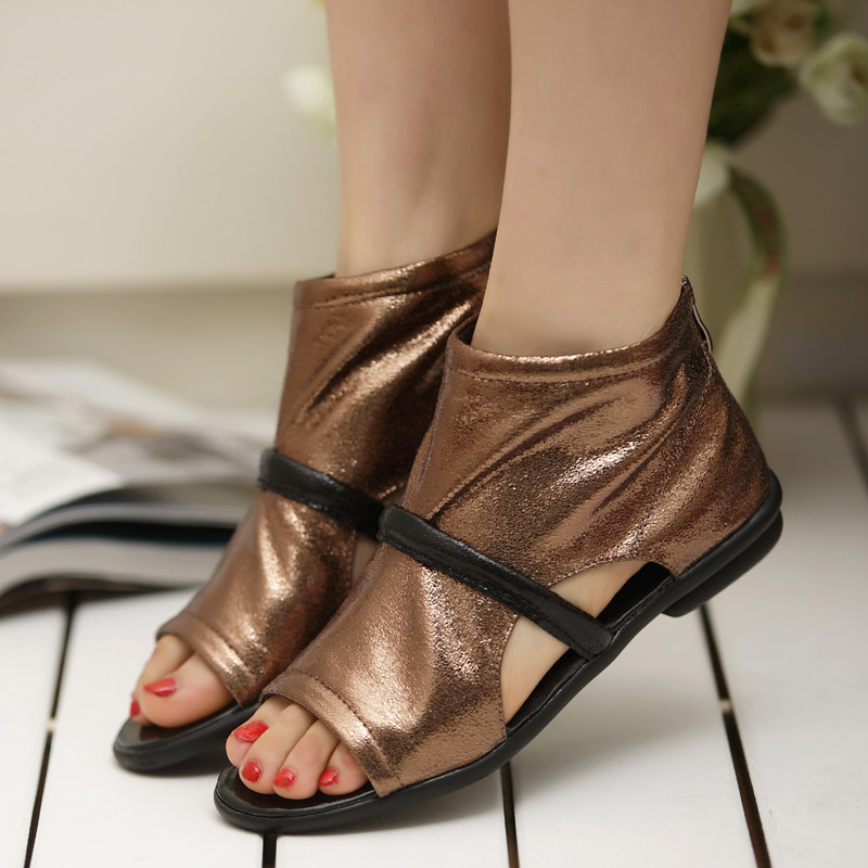 2013 spring new arrival flat open toe sandals high comfortable women's shoes explosion leather shoes(China (Mainland))