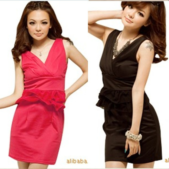 the new summer 2013 E1423 ruffle cross V-neck ol elegant slim hip sexy work wear 2011 one-piece dress red(China (Mainland))