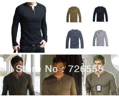 Mens Shirt Showtime Dexter Kill Shirt Henley Long Sleeve Slim Tee Army Black(China (Mainland))