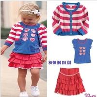 Girl's Casual Chic Sets , Striped  Coat + Print T- shirt + Kilt  3pcs/Set   Free Shipping