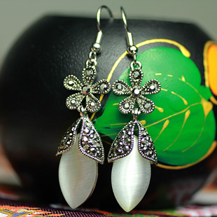 Bohemia national trend earrings thai silver - eye drop earring royal vintage austrian diamond jewelry Women(China (Mainland))