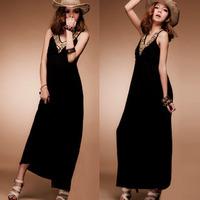 Fashion V-neck spaghetti strap beading rivets brief sleeveless one-piece dress bohemia dress full female