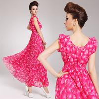 Women's bohemia V-neck chiffon sleeveless vest elegant beach one-piece dress full dress