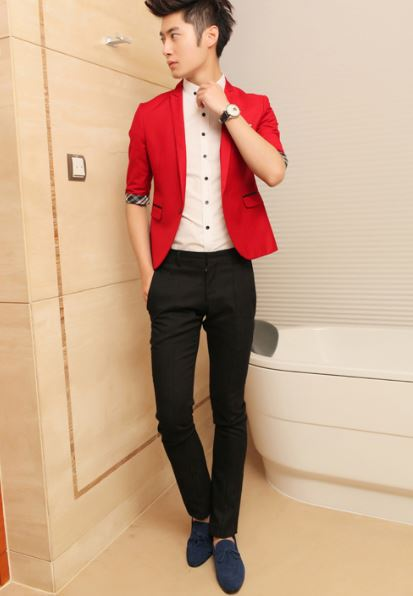 Korean new hot sale style very Fashion Slim Fit Mens Black, wine red, red, pink, suit jacket Fitted blazer one button Free Ship(China (Mainland))